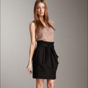 BCBG Stella Paperbag Waist Wool Blend Black Skirt